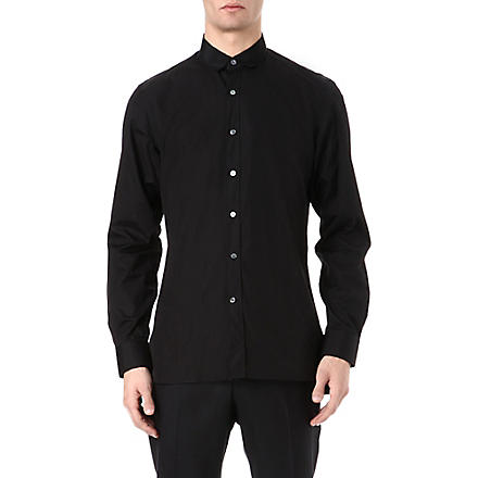 LANVIN Grosgrain-collar shirt (Black