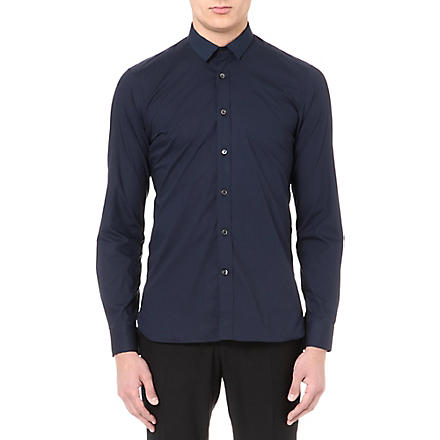 LANVIN Grosgrain collar shirt (Navy