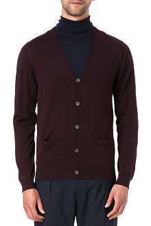 LANVIN Felt-panelled knitted cardigan