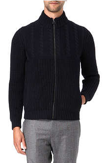 LANVIN Zip-up cable knit cardigan