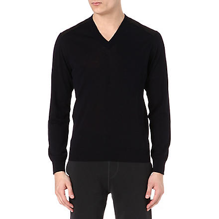 LANVIN Panelled knitted jumper (Navy