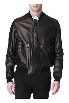 LANVIN Leather knitted-back bomber jacket