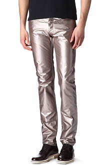 LANVIN Metallic slim-fit straight jeans