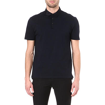 LANVIN Contrasting grosgrain-collar polo shirt (Navy
