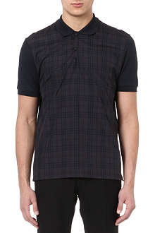 LANVIN Checked-panel polo shirt