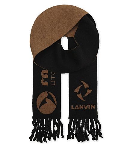 LANVIN Jacquard slim scarf (Anthracite+caramel