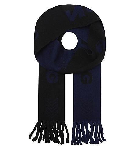 LANVIN Jacquard slim scarf (Anthracite+blue