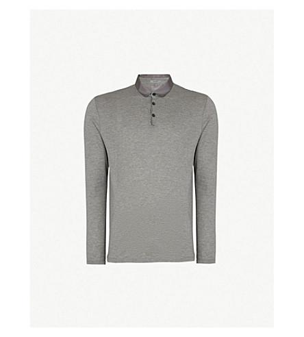 LANVIN Satin-trimmed cotton-piqué polo shirt (Grey