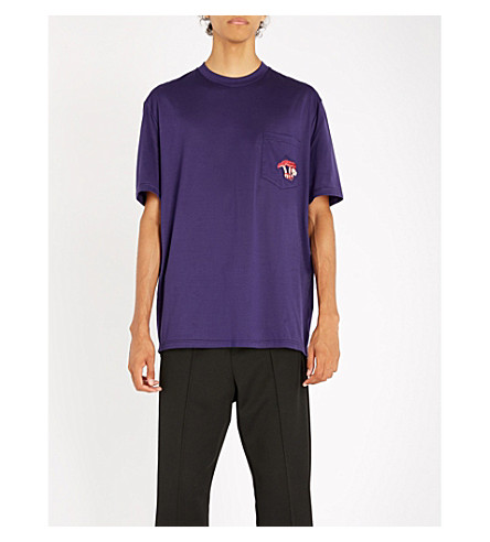 LANVIN Mushroom-embroidered cotton-jersey T-shirt (Purple
