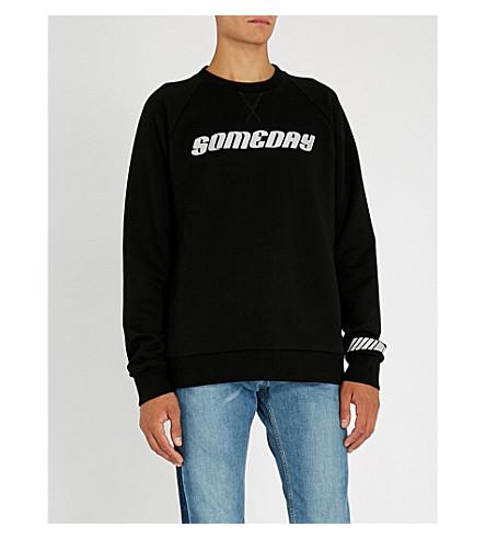 LANVIN Text-appliqué cotton-jersey sweatshirt (Black