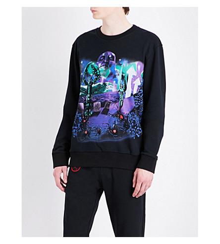 LANVIN Graphic-printed cotton-jersey sweatshirt (Black