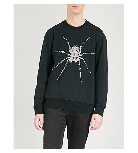 LANVIN Beaded spider cotton-jersey sweatshirt (Black