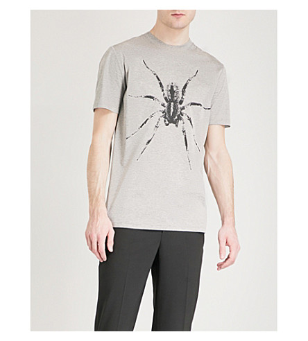 LANVIN Spider-printed cotton-jersey T-shirt (Grey