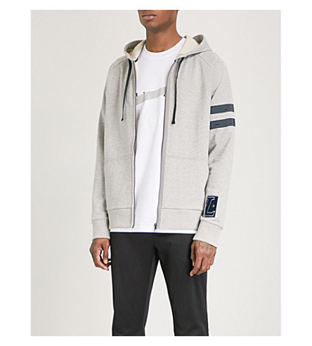 LANVIN Striped-sleeve cotton-jersey hoody (Grey