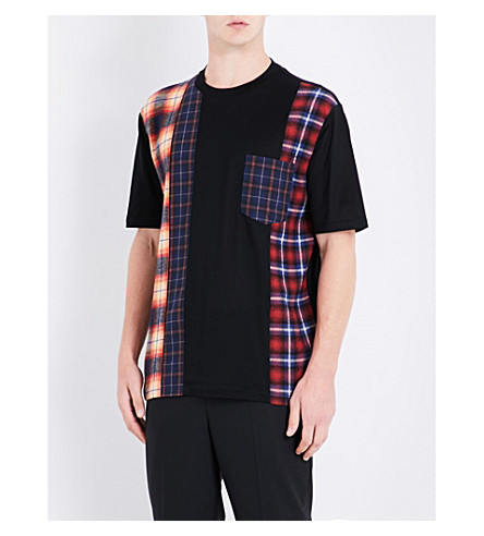 LANVIN Patchwork-panel cotton-jersey T-shirt (Black