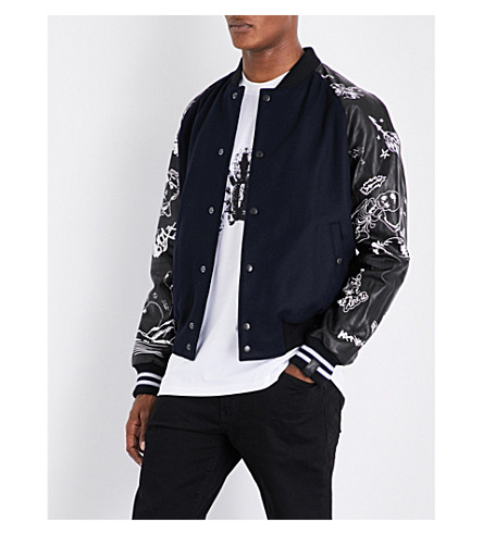 LANVIN Hand drawn wool-blend and leather bomber jacket (Navy