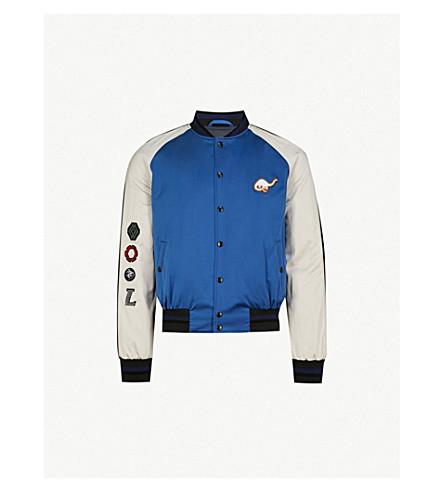 LANVIN Appliquéd satin bomber jacket (Blue