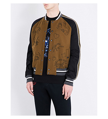 LANVIN Embroidered wool bomber jacket (Khaki