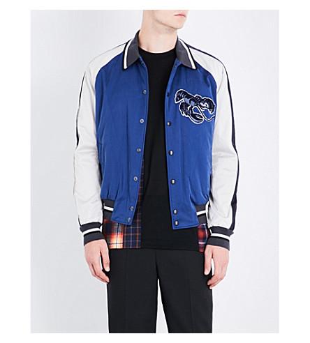 LANVIN Lobster-embroidered satin bomber jacket (Blue