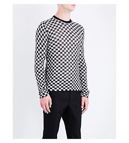 LANVIN Checkerboard wool-jacquard jumper (White+black