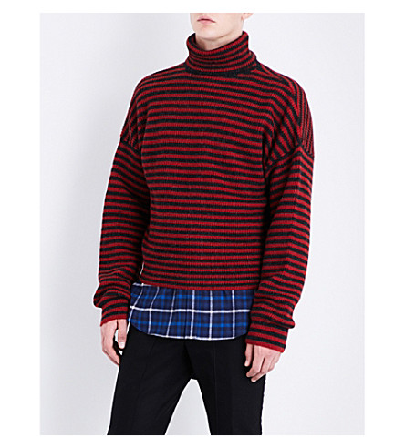LANVIN Striped wool-blend jumper (Red+anthracite