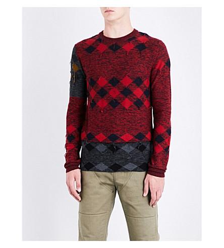 LANVIN Patchwork wool jumper (Red+black