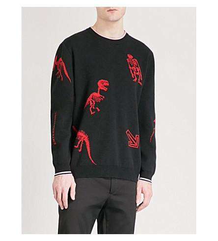 LANVIN Dinosaur-intarsia knitted jumper (Black