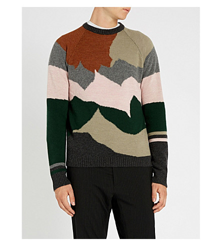 LANVIN Landscape-intarsia wool and cashmere-blend sweater