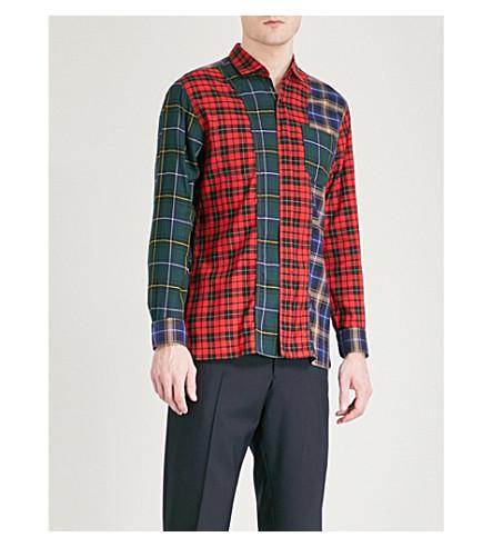 LANVIN Patchwork cotton-blend shirt (Multi+red