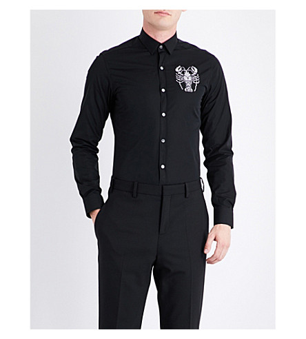 LANVIN Lobster-embroidered slim-fit cotton shirt (Black