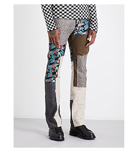 LANVIN Patchwork cotton and linen-blend trousers (Anthracite