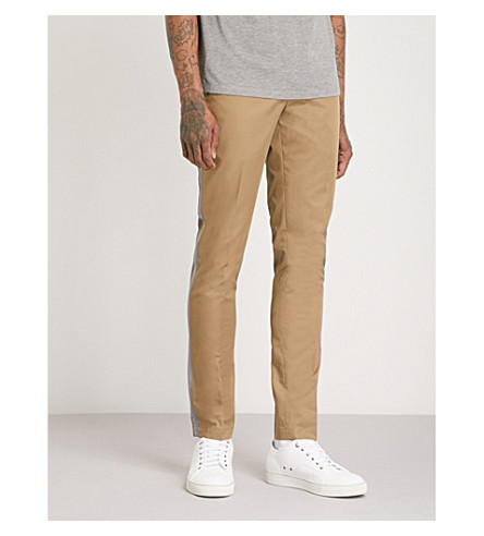 LANVIN Side-stripe cotton-twill trousers (Beige