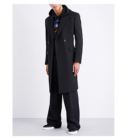 BALENCIAGA Double-breasted wool-twill coat (Noir