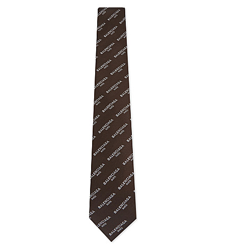 BALENCIAGA Logo silk tie (Dark+brown+white