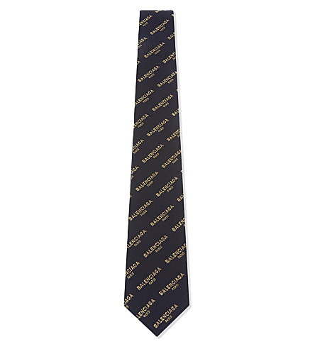 BALENCIAGA Logo silk tie (Navy+gold