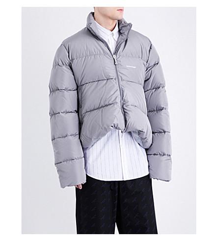 BALENCIAGA Logo-print quilted shell puffer jacket (Brume