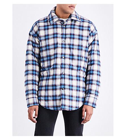 BALENCIAGA Check-pattern cotton peacoat overshirt (Atlantique