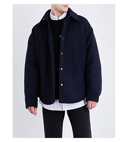 BALENCIAGA Button-detailed wool peacoat overshirt (Marine