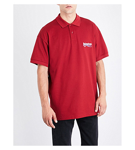 BALENCIAGA Logo-embroidered cotton-piqué polo-shirt (Bordeaux+balenciaga