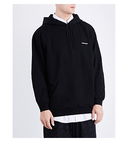 BALENCIAGA Logo-embroidered cotton-jersey hoody (Noir