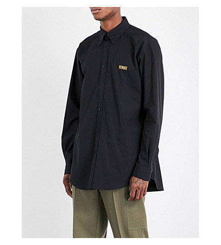 BALENCIAGA Homme regular-fit cotton-poplin shirt (Noir