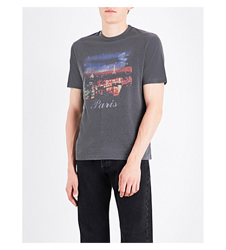 BALENCIAGA Paris At Night cotton-jersey T-shirt (Noir+lave