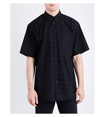 BALENCIAGA Logo-print regular-fit cotton-poplin shirt (Noir+pacifique