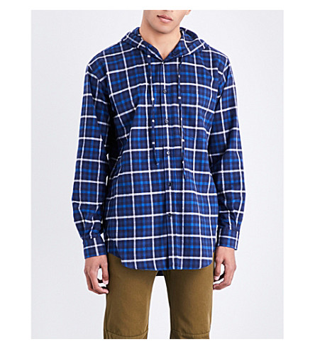 BALENCIAGA Hooded checked regular-fit flannel shirt (Marine
