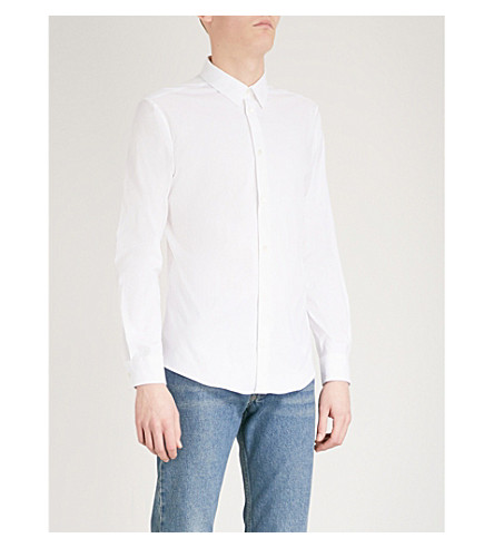 BALENCIAGA Slim-fit cotton-poplin shirt (Blanc