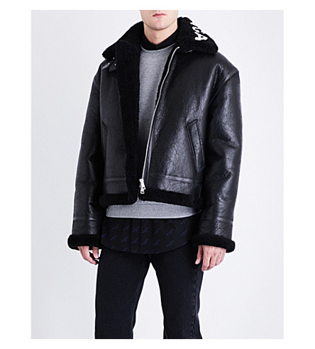 BALENCIAGA Logo-print leather and shearling jacket (Noir+blanc