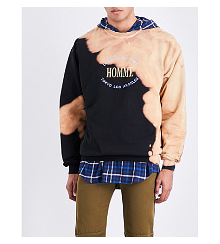 BALENCIAGA Oversized bleached cotton-jersey sweatshirt (Noir