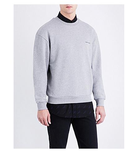 BALENCIAGA Logo-embroidered cotton-jersey sweatshirt (Gris+chine