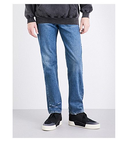 BALENCIAGA Distressed regular-fit straight jeans (Stone