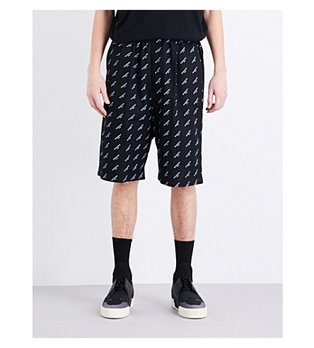 BALENCIAGA Brand-print regular-fit cotton shorts (Black